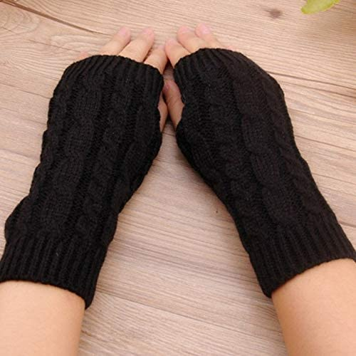 Winter Wrist Female Gloves Knitted Lady Fingerless Mittens Women Warmer Gloves 5 Colors - (Color: A)