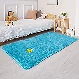 Blue Runner Rug for Bedroom,3'X5',Fluffy Shag Rug for Living Room,Bedside Rug for Kids Room,Shaggy Throw Rug for Nursery Room,Fuzzy Plush Rug,Turquoise Carpet,Rectangle,Cute Room Decor for Baby