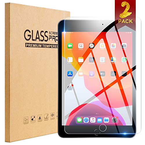 [2Pack] TopEsct Tempered Glass Screen Protector Compatible with iPad 7th Generation 10.2 inch,[Scratch-Resistant] 9H Hardness HD,2.5D Edge,Ultra Clear,Anti-Scratch
