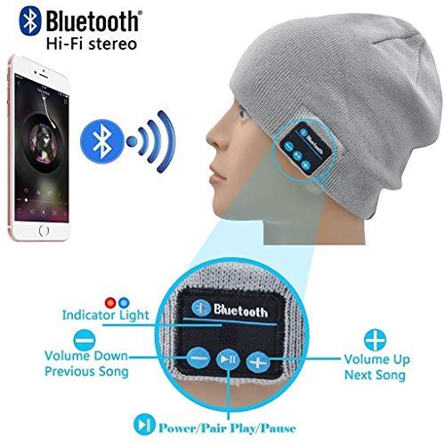 ONX3 Hellgraue drahtlose Beanie-Hut-Kappe Smart Winter Knit Hat V4.1 Musikalische Kopfhörer Kopfhörer mit 2 Lautsprechern Unisex Einzigartige Weihnachts-Tech-Geschenke Kompatibel mit ZTE Blade L3 Plus
