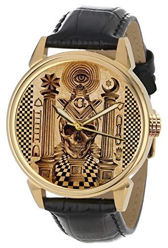 Reloj de colección de latón macizo con diseño de calavera masónica, pergamino de Franc-mampostería.