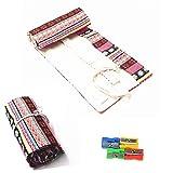 Estuche para lápices Raylinedo® de tela enrollable con 36orificios para lápices, color rosa, estilo bohemio , Rosa, 36 Holes