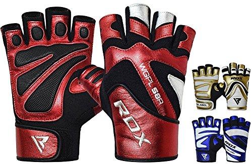 RDX Guanti Palestra Pelle Fitness Sollevamento Pesi Allenamento Antisudore Bodybuilding Workout Antiscivolo Polso Powerlifting Imbottiti Gym Gloves