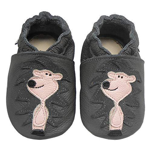 Bemesu Baby Krabbelschuhe Lauflernschuhe Lederpuschen Kinder Hausschuhe aus weichem Leder für Mädchen und Jungen Grau Löwe (L, EU 21-22)