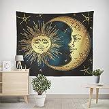 CXDDD Serviette de Plage Tapisserie Blanc Noir Soleil Lune Mandala Tapisserie Tenture Murale Tapisserie Murale Hippie Tarot Tapis Dortoir Décor Psychédélique Tapisserie 150X200CM