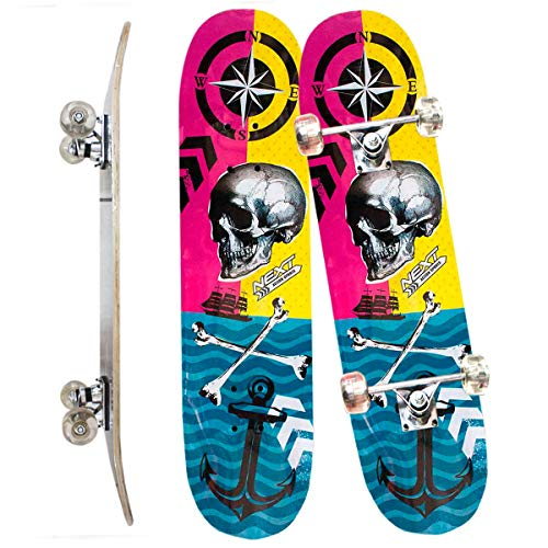 Skate Skateboard Iniciante Completo Madeira Modelos 78 Cm Cor: Azul