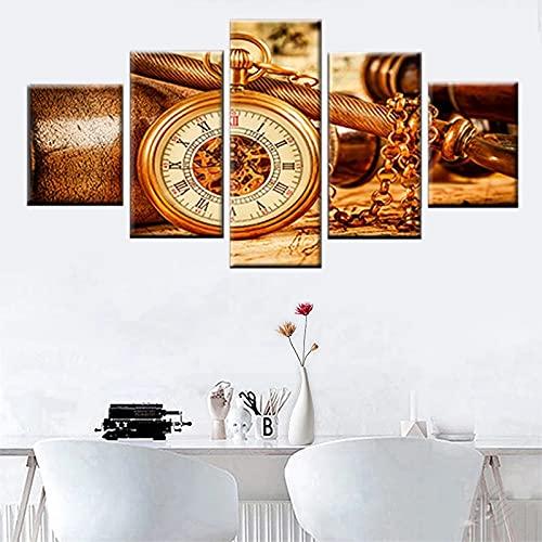 JINGMEI Fresh Colors Módulo De 5 Piezas Cuadro De Arte De Pared Paisajes Reloj De Bolsillo Dorado Decoración del Hogar Moderna Sala De Estar Dormitorio Oficina Adornos Decorativos