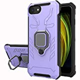 iPhone SE 2020 / iPhone 8/ iPhone 7/ iPhone 6 Case, Yiakeng Military Grade Protection Shockproof Cover Case with Ring Bracket for iPhone SE 2020/8/ 7/6 (Purple)
