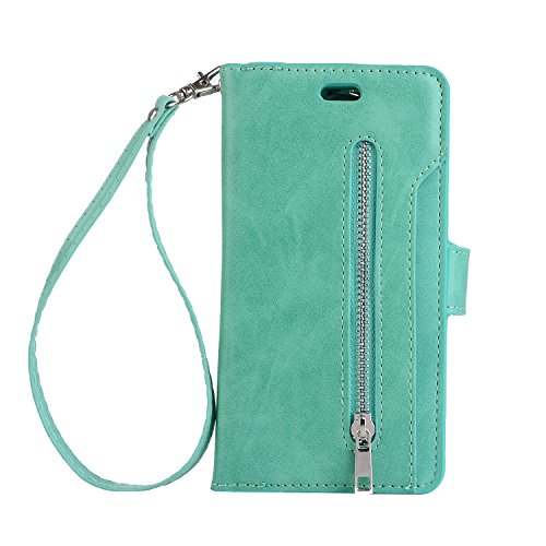 Galaxy S8 Case, Folice Zipper Wallet Case [Magnetic Closure]& 9 Card Slots, PU Leather Kickstand Wallet Cover Durable Flip Case for Samsung Galaxy S8 (2017 Release) (Mint Green)