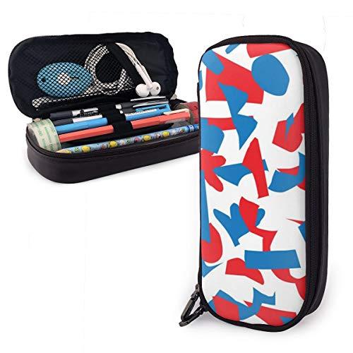 90ioup Abstraktes Papier Schnittmuster Make-up-Tasche aus Leder mit doppeltem Reißverschluss, PU, Schwarz, Einheitsgröße