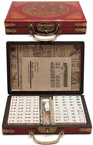 LLKK Mahjong Set 144 artículos Mah-Jong Set,Juegos Tradicionales Mahjong Club,con Instrucciones,Juegos Familiares