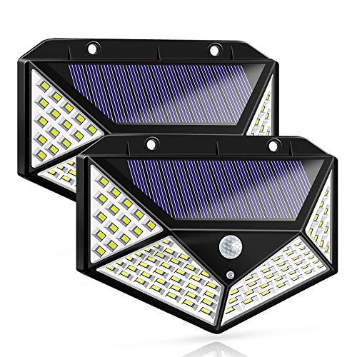 Luz Solar Exterior, Bicolor 100 LED Foco Solar con Sensor de Movimiento Gran Ángulo 270º Impermeable Inalámbrico Lámpara Solar Solares de Pared de Seguridad 3 Modos para Jardín, 2 Paquete