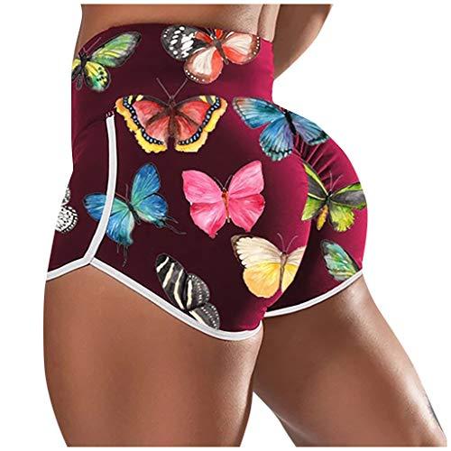 MINGGER Ladies'printed High-Waist Hip Stretch Unterhose Running Fitness Yoga Shorts Geeignet (Rot, L)