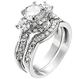 XAHH Wedding Band Engagement Ring Set for Women White Gold 2.5Ct Round White AAA Cz Size 5-11 (12)