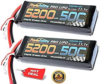 PowerHobby 3S 11.1V 5200mAh 50C Lipo Battery 2 Pack w Deans Plug 3-Cell (2) Fits : Assocated Hpi Savage Vorza E10 Rs4 Blitz Arrma Kraton Typhon Duratrax