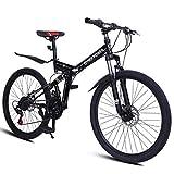 Follure Folding Mountain Cyclocross Bike 26 inch Wheels / 21 Speed Full Suspension Comfort Road Bike/Anti-Slip City Road Bike/Double Disc Brake/High Carbon Steel Frame Scooters