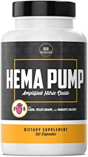 Hema Pump - Strongest Nitric Oxide Booster Supplement for No2, Muscle Building & Strength, Muscle Pumps, L-Norvaline, Agma...