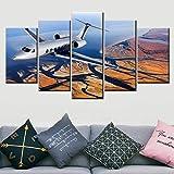 YXWLKG 5 lienzos de lienzo para decoración del hogar, 5 piezas de drone Sky Shooting, paisaje de la sala de estar modular sin marco