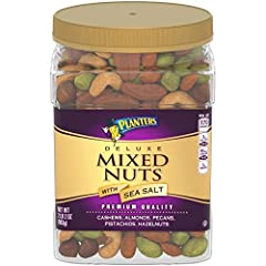 Deluxe mixed nuts: Planters deluxe mixed nuts with sea salt combines premium quality nuts for a tasty snack. Snack on a crunchy mix of planters nuts—cashews, almonds, hazelnuts, pistachios and pecans Planters nuts: This 34 ounce resealable jar of Pla...