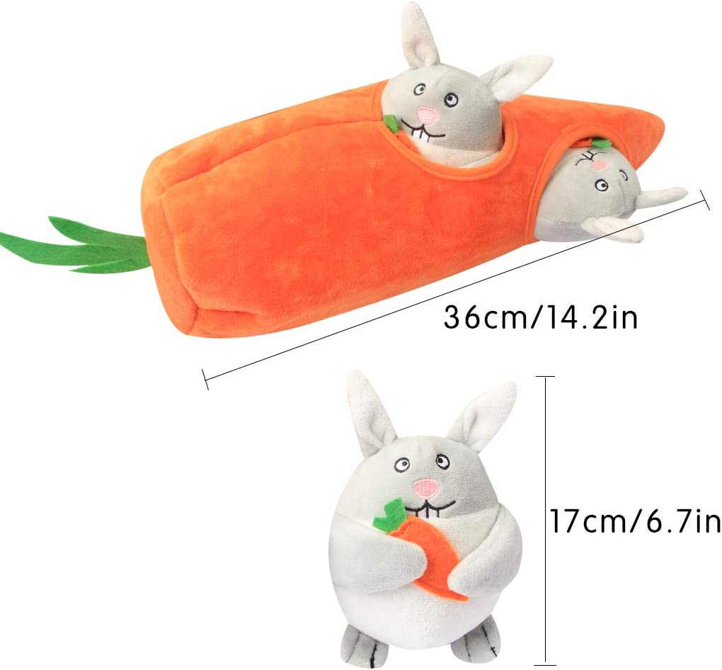 IFOYO Dog Squeaky Toy, Large Durable Hide Seek Puzzle Plush Interactive Dog Toys Medium/Small Dogs, Pets, Halloween Christmas Dog Toy Rabbit