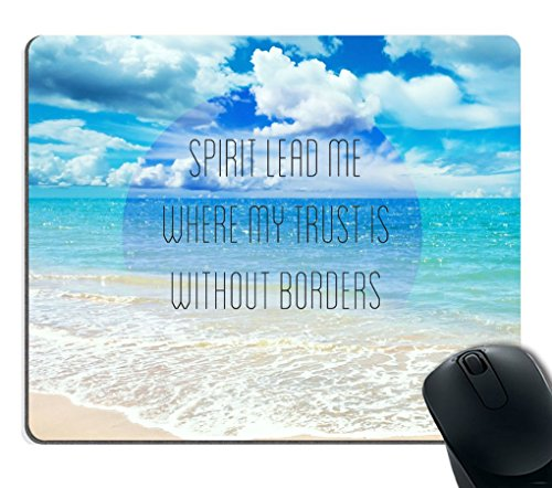 Smooffly Gaming Mouse Pad Custom,Bible Verses Christian Quotes Theme Spirit Lead me Where My Trust is Without Borders Customized Rectangle Non-Slip Rubber Mousepad Gaming Mouse Pad