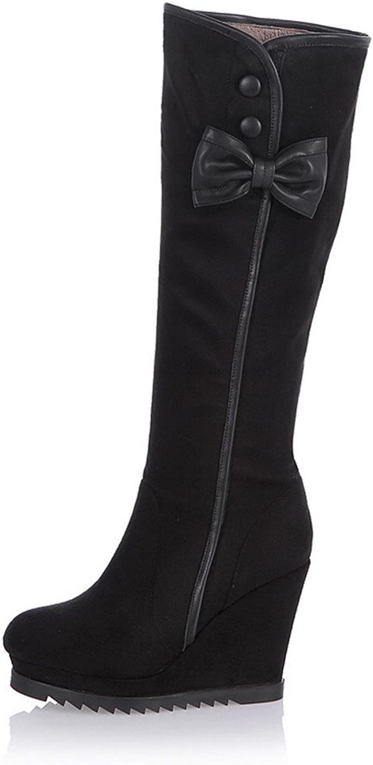WeenFashion Womens Round Toe High Heels Frosted PU Solid Boot with Bow, Black, 7 B(M) US