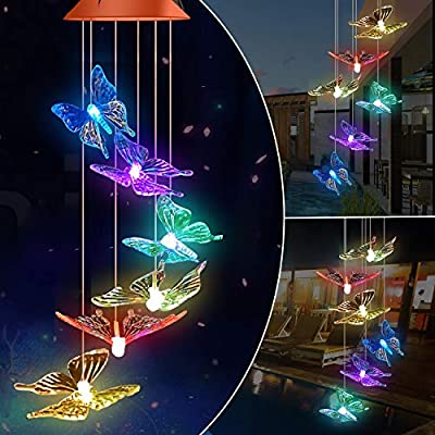BINWO Wind Chimes Solar Butterfly Wind Chime Color Changing Lights Outdoor Solar Lights Hanging Decorative Garden Lights Xmas Gifts for Mom Decor Home Patio Indoor Outdoor, Birthday Gifts for Mom