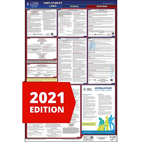 2021 Montana Labor Law Poster, All-in-One OSHA Compliant MT State & Federal Laminated Poster (26