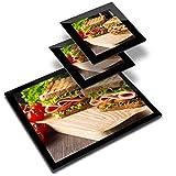 Destination 24502 - Mantel individual (20 x 25 cm, 2 posavasos de 10 x 10 cm), diseño de jamón y queso, color blanco