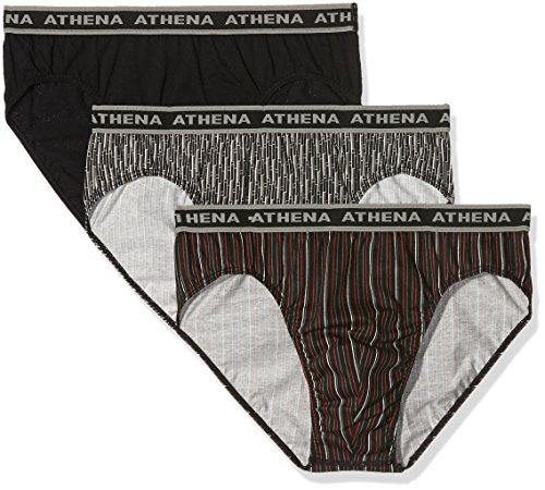 ATHENA - Lot de 3 Slips Homme Tonic - Taille : 6 - Couleur : Bâtons Gris-Rayures Rouges-Noir