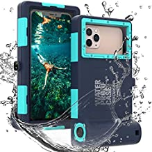 Professional 50ft Diving Phone Case for All Samsung iPhone Series, Universal Waterproof Cell Phone Cover for Outdoor Surfing Swimming Snorkeling Photo Video (Black-Blue)