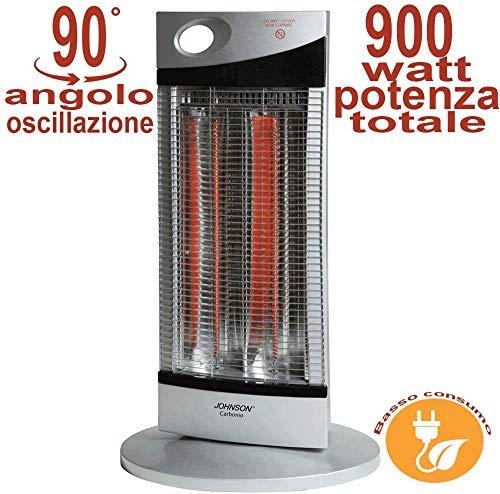 Palucart Stufa Carbonio basso consumo elettrica carbonio 900w con oscillazione maneggevole con maniglia e sistema di sicurezza colore grigio stile all