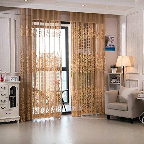 Met Love Haut de Gamme Dentelle Fenêtre Criblage Ajouré Maille Respirant Translucide Salon Chambre Balcon Décoré Gaze Baie Fenêtre 2 Panneaux (Taille : L:3.0*H:2.7m)