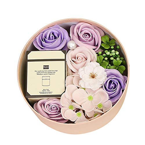 QAHEART Artificial Flowers Scented Candle,Gift Box with Rose Flower Soap,Romantic Present for Her on Mothers Day,Wedding Home Décor