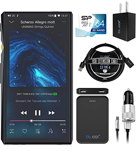 FiiO M11 PRO Android Hi-Res Lossless MP3 Music Player Bundle with Blucoil 5000mAh Portable Power Bank, 64GB Class 10 MicroSD Card, 3' USB Extension Cable, USB Wall Adapter, and USB Car Charger