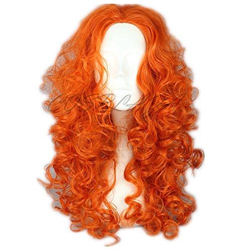 COSPLAZA lunga, piega riccia, colore: arancione, motivo: Anime Cosplay Wigs Merida di capelli