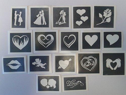 Valentine Motivschablonen für Ätzen auf Glas Herzen Ringe Amor Geschenk Glaswaren Hobby Craft, 10