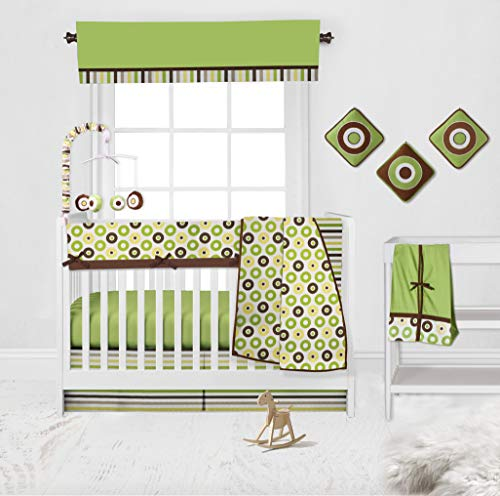 Bacati 10-Piece Crib Bedding Set, Mod Dots & Stripes (Green/Yellow/Chocolate) – with Long Rail Guard