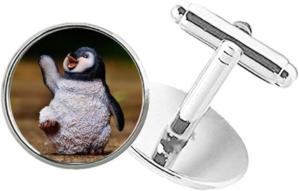 DIYthinker Creature Antarctic Cute Penguin Science Nature Round Button Cuff Clip Stud Cufflinks