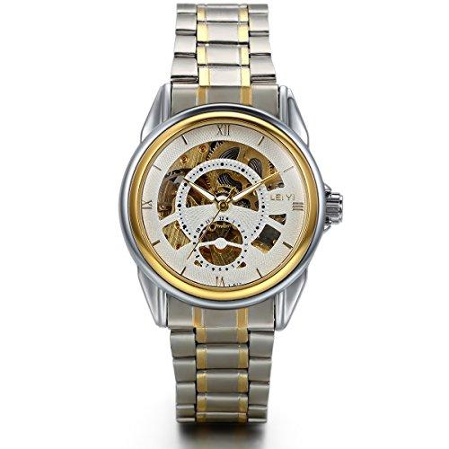 JewelryWe Herren Automatik Armbanduhr, Business Casual Skelett Handaufzug mechanische Uhr Automatikuhr mit Edelstahl Armband, Gold Silber