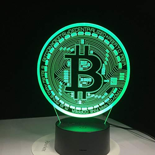 Letrero de bits LED 3D Decoraciones de luz nocturna colorido Símbolo de moneda USB Lámpara de escritorio Dormitorio de bebé Accesorio de iluminación para dormir Decoración Regalo