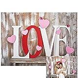 Allenjoy 2,1 x 1,5 m Valentinstag Hintergr& rustikale Holzwand weiß rosa süße Liebe Herz für Muttertag Hochzeit Brautparty Kinder Baby Geburtstag Party Dekor Banner Portrait Foto Booth Requisiten