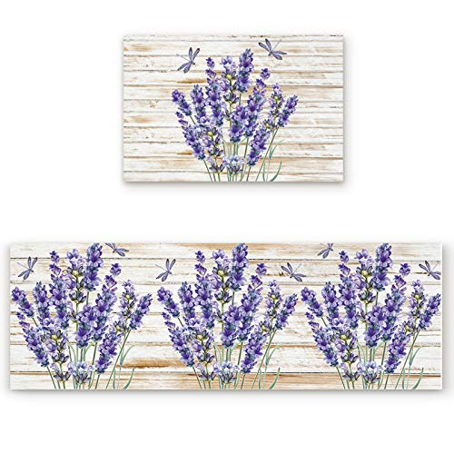 2 Pcs Kitchen Mats Runner Rug Set Anti Fatigue Standing Mat Rubber Backing Purple Lavender Dragonfly Print Washable Floor Mat Area Rug for Home/Office 15.7'x23.6'+15.7'x47.2'
