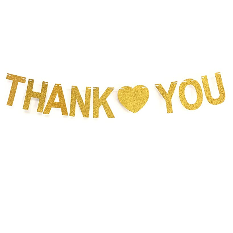 GZFY Gold Glittery THANK YOU Banner Thanksgiving Sign Wedding Bunting Banner home Decorations Garland photo Booth Props