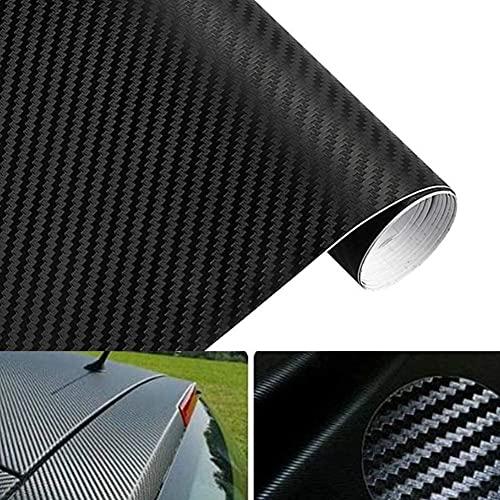 Veshow Adhesivo para coche de fibra de carbono negro, vinilo con textura 4D, autoadhesivo, lámina decorativa, resistente al agua y a los arañazos