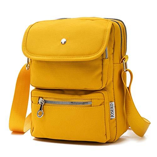Crossbody Bag for Women, JOSEKO Multi-Pocketed Nylon Shoulder Bag Purse Travel Passport Bag Messenger Bag Yellow Size: 7.87''(L) x 2.76''(W) x 10.24''(H)