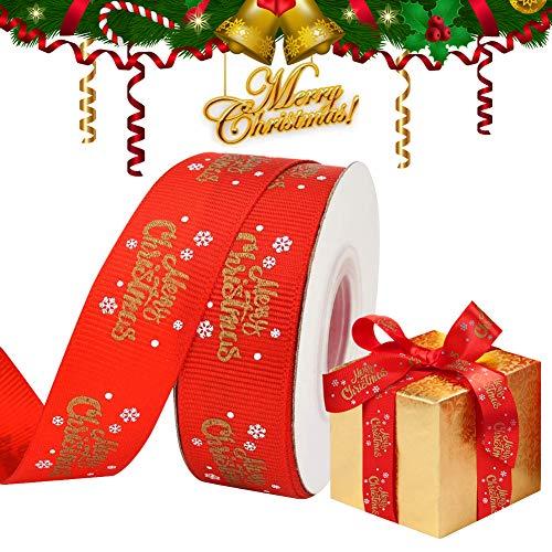 Cinta de Navidad para Envolver Regalos, Rollo de Cinta Roja de Feliz...