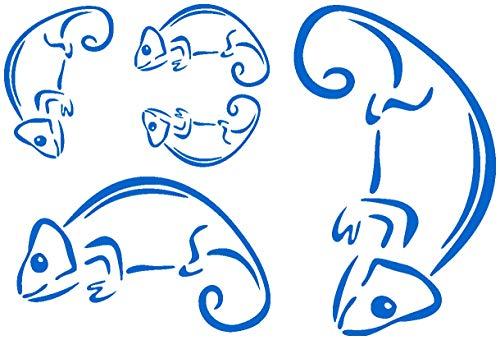 Samunshi® Comic Chamäleon Aufkleber 5 teiliges Creativ-Set in 5 Größen und 25 Farben (29x20cm azurblau)
