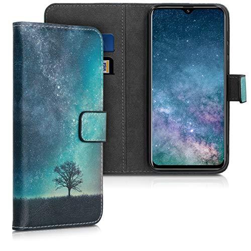 kwmobile Wallet Hülle kompatibel mit Ulefone Note 7P - Hülle mit Ständer Kartenfächer Galaxie Baum Wiese Blau Grau Schwarz