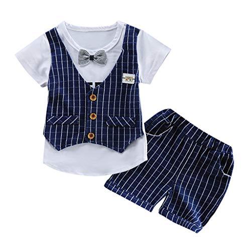 Toamen 2Pc Bambino Ragazzo Set di Vestiti Convenzionale,Estate Camicia A Righe Gilet Manica Corta + Pantaloncini Sciolti Partito Vestito (Blu Scuro,80)